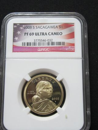 2008 S Proof Sacagawea Native American Dollar - Ngc Pf 69 Ultra Cameo (032) photo