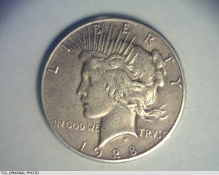 United States 1928 - P Peace Silver Dollar $1 Rare Key Date Vf - Ef Details photo