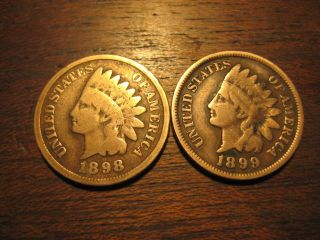 1898 & 1899 Indian Head Pennies Cents Better Bronze Coin photo