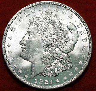 Uncirculated 1921 Silver Morgan Dollar S/h photo