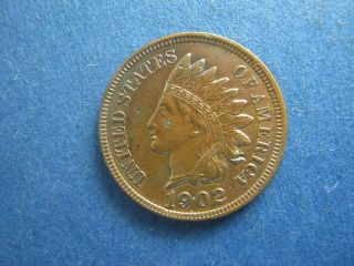 1902 Indian Head Cent,  About Uncirculated+ photo