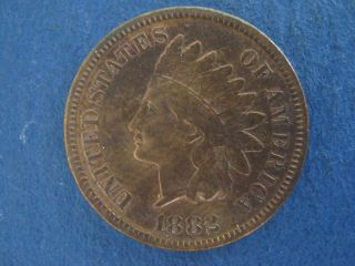 1882 Indian Head Cent High End Extra Fine Variety Very Strong Doubling On United photo