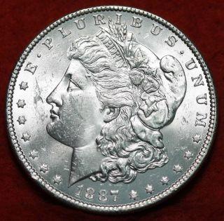 Uncirculated 1887 Silver Morgan Dollar S/h photo