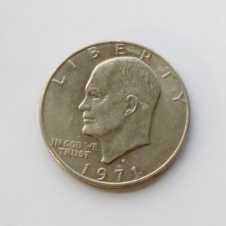 Usa 1971 Eisenhower 1 Dollar Coin - 1st Year Edition - Denver Mintmark - Vvf photo
