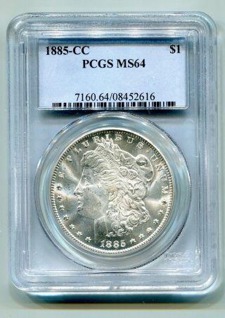1885 - Cc Morgan Silver Dollar Pcgs Ms 64 White Coin Premium Quality photo