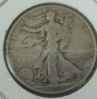 1938 D Silver Walking Liberty Half Dollar,  Key Date,  F+ Great Details, photo