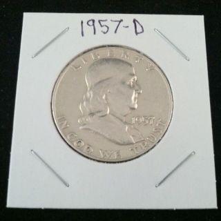 1957 D Ben Franklin 90% Silver Half Dollar.  900 Fine Silver & Usa photo