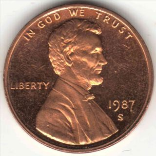 1987 - S 1c Dc (proof) Lincoln Cent photo