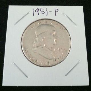 1951 P Ben Franklin 90% Silver Half Dollar.  900 Fine Silver & Usa photo