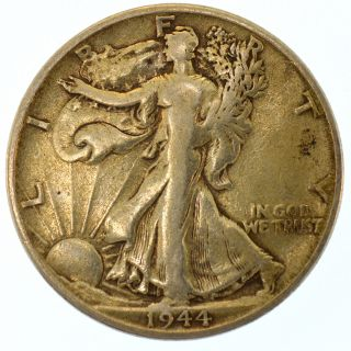 1944 - S 50c Walking Liberty Half Dollar United States Silver Coin Ww2 photo