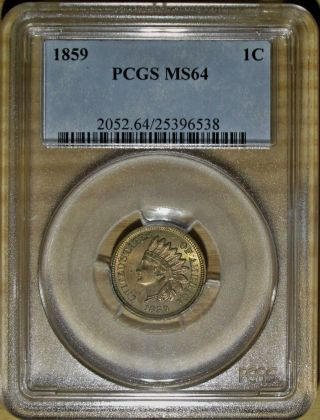 1859 Indian Head Cent Pcgs Ms 64.  Lustrous First Year Indian With Rainbow Color photo