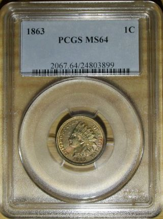 1863 Indian Head Cent Pcgs Ms 64.  Rainbow Toned Copper Nickel Penny photo