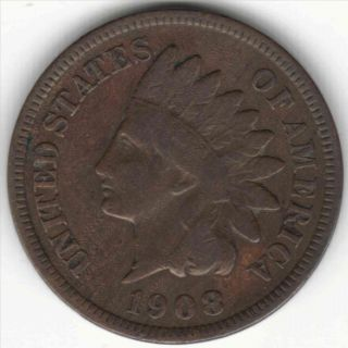 1908s Indian Head Cent - - Partial Liberty - - Key Date Ih Penny photo