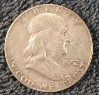 1952 - D Us Franklin Half Dollar; 90% Silver photo