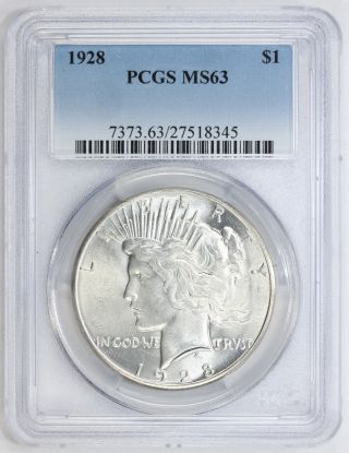 1928 Peace Silver Dollar Ms 63 Pcgs (8345) photo