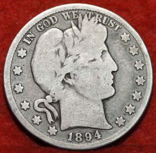 1894 - S Silver Barber Half Dollar S/h photo