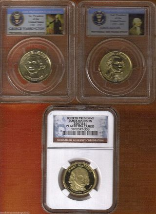 3 Presidential Dollars / Pcgs & Ngc 1st,  2nd & 4th Presidents photo