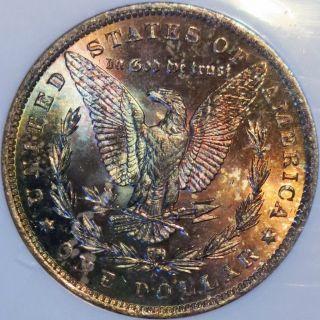 1884 O Morgan Silver Dollar Ngc Ms64 Cac Certified Monster Rainbow Toning photo