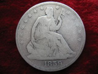 1859 - O Seated Liberty Half Dollar,  Coin Historic Orleans photo