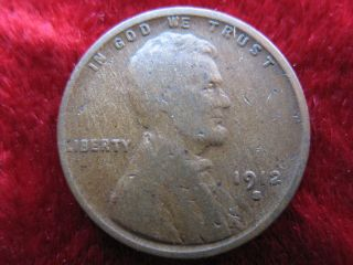 1912 - S Lincoln Wheat Cent,  Scarce Date Coin Has Small Dings. photo