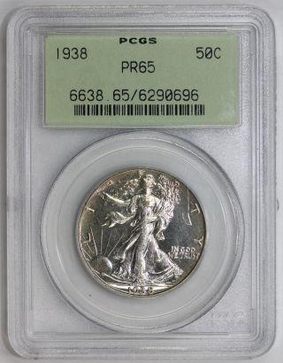 1938 Walking Liberty Half Dollar Pr 65 Pcgs (0696) Gem State Certified photo