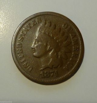 1874 Indian Head Cent Good Shape photo