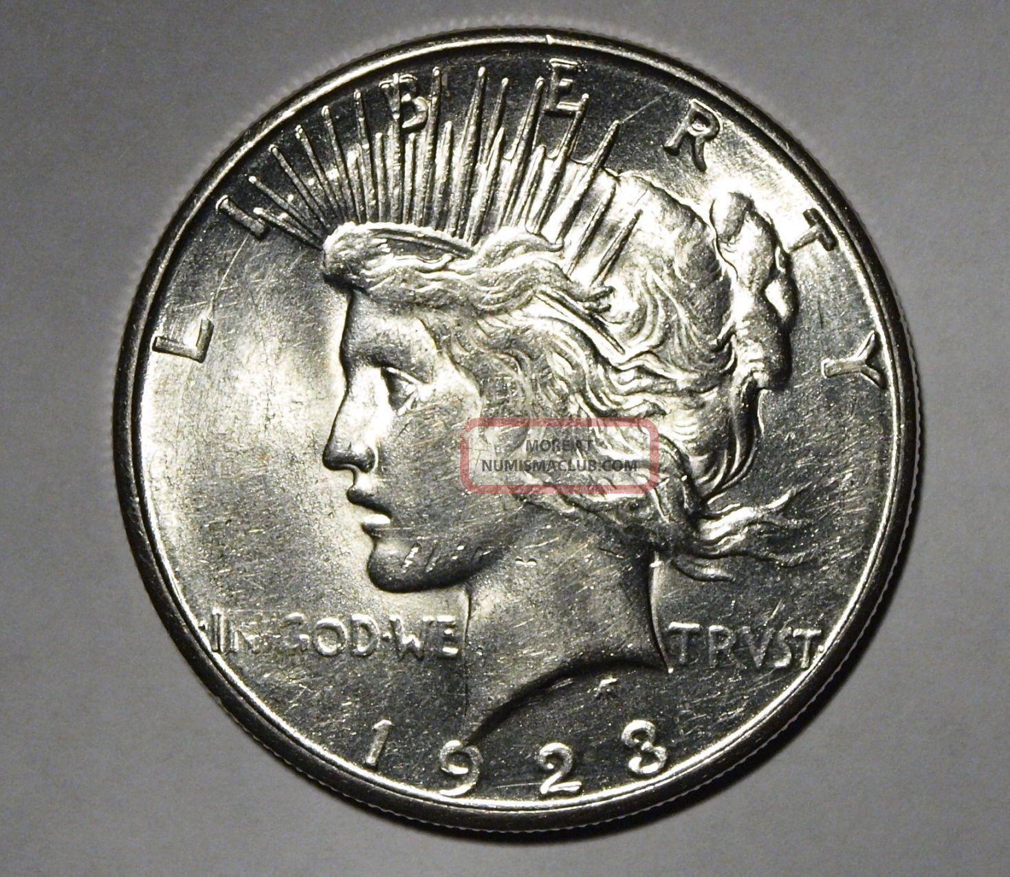 1923 S Us Silver Peace Dollar Bu