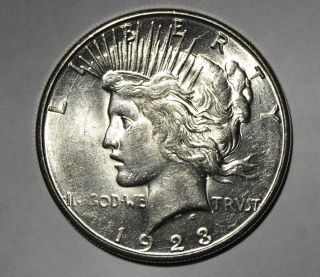 1923 S Us Silver Peace Dollar Bu+ photo