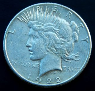 1922 S Peace Silver Dollar $1 photo