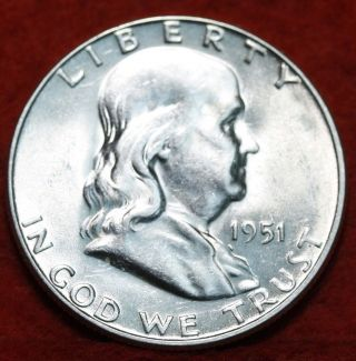 Uncirculated 1951 - S Silver Franklin Half Dollar S/h photo