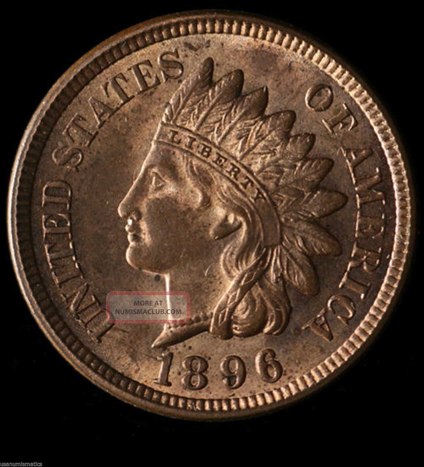1896 Indian Head 1c Lustor Choice Bu Full Liberty Red / Brz Surface 015 Small Cents photo