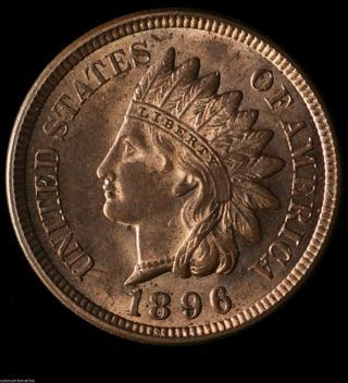 1896 Indian Head 1c Lustor Choice Bu Full Liberty Red / Brz Surface 015 photo