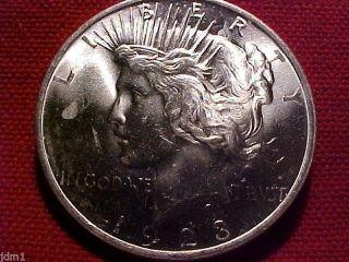1923 - P Peace Silver Dollar $1 Bright White Lustrous Gem Bu Fe01 photo