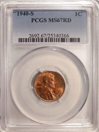 1940 - S 1c Pcgs Ms - 67 Red Pq Gem Lincoln Cent photo