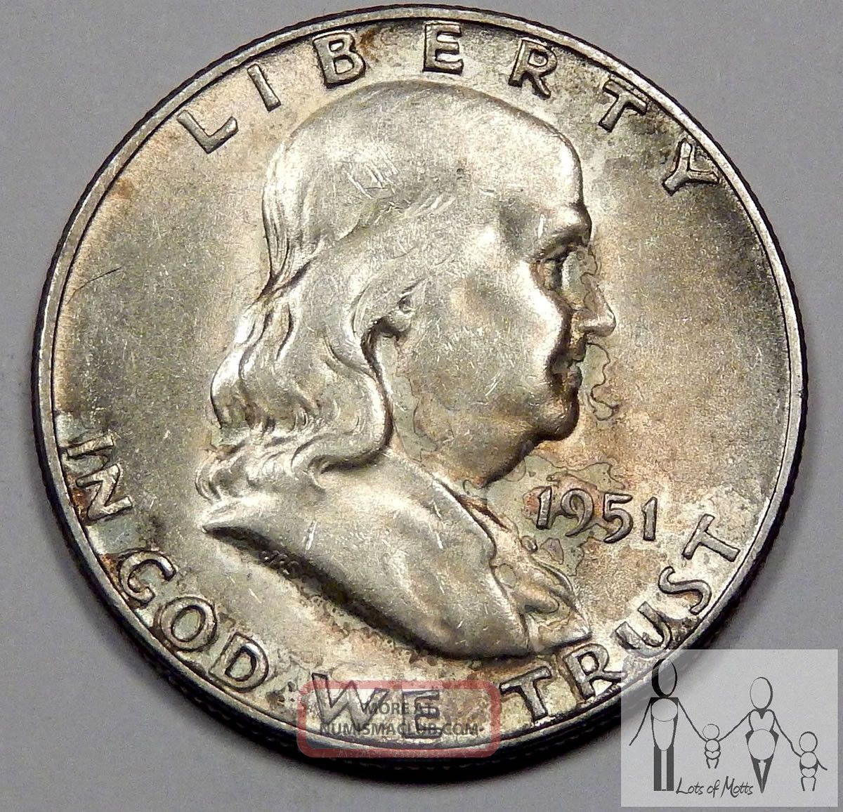 1951 S About Uncirculated Au Toned Ben Franklin Silver Half Dollar 50c Us Coin