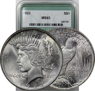 1922 Peace Dollar Silver Coin Choice Bu photo