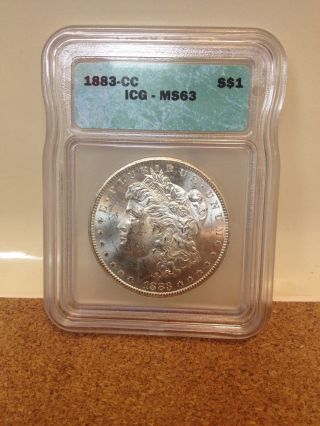 1883 Carson City Morgan Silver Dollar Icg Cert Ms 63 - photo