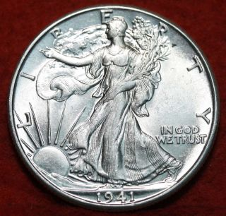 Uncirculated 1941 - D Silver Walking Liberty Half S/h photo