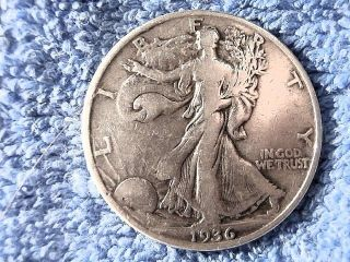 Scarce Silver Walking Liberty Half Dollar: 1936 - P About Very Fine photo