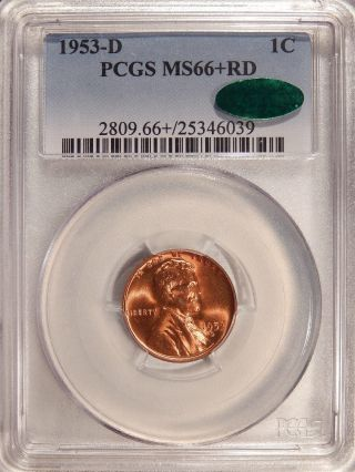 1953 - D 1c Pcgs Ms - 66+ Red Cac Pq Gem Lincoln Cent $4000 In Ms - 67 photo