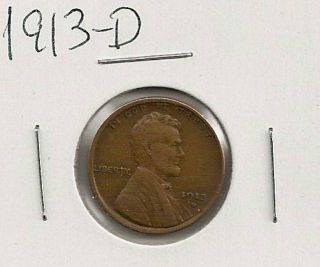 1913 - D Lincoln Cent : Extra Fine photo