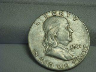 1961 Benjamin Franklin Silver Half Dollar Coin Mark D photo
