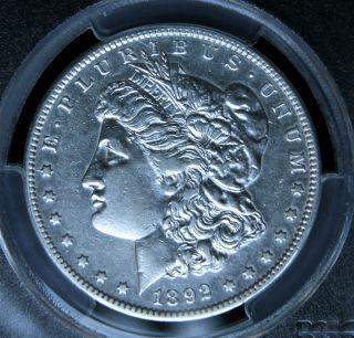 1892 - S Morgan Silver $1 Dollar Pcgs High Au Details - Very Tough In This Grade photo