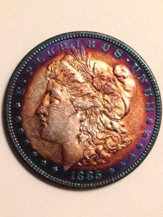 1885 Philadelphia Au - Bu Morgan Silver Dollar Target Toning photo