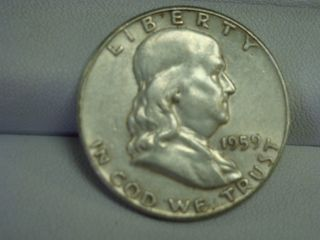 1959 Benjamin Franklin Silver Half Dollar Coin photo