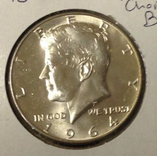 T445 : 1964 - P Choice Bu Unc Silver Kennedy Half Dollar Coin :fairhouse photo