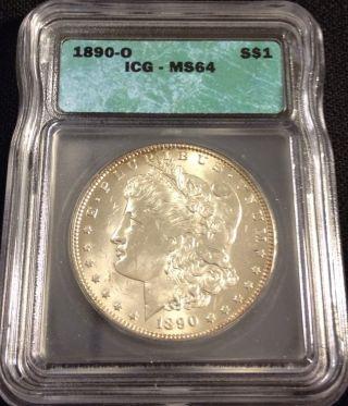 1890 - O Morgan Silver Dollar Icg Ms 64 photo