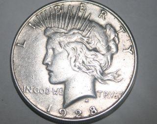 1928 - S $1 Peace Silver Dollar 90% Silver - Actual Photo photo