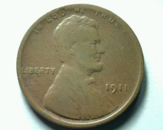 1911 Lincoln Cent Penny Very Fine Vf Reasonable Priced Fast Shipment photo