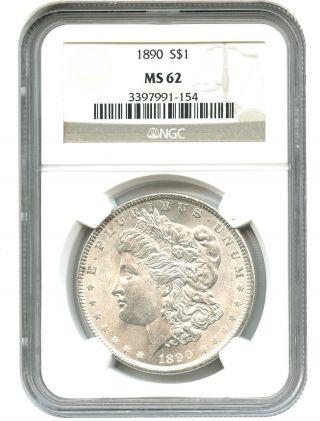 1890 $1 Ngc Ms62 Morgan Silver Dollar photo